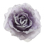 Decoris Frosted Lilac Rose with Glitter on Clip