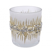 Decoris White & Gold Tealight Holder with Bead Rim 10cm