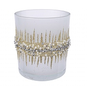 Decoris White & Gold Tealight Holder with Bead Rim 8cm