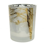 Decoris Winter White Tealight Holder with Tree & Birds 12.5cm