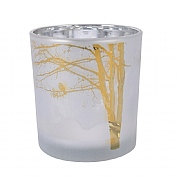 Decoris Winter White Tealight Holder with Tree & Birds 8cm