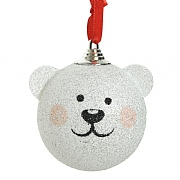Decoris White Foam Bear Bauble 80mm