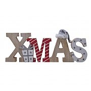 Decoris Red & White Wooden Xmas Sign with Hat and Glitter