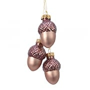 Decoris Brown Glass Acorn Bundle Hanging Decoration