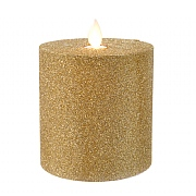 Lumineo Champagne Gold LED Glitter Flicker Candle 10cm