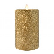 Lumineo Champagne Gold LED Glitter Flicker Candle 15cm