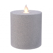 Lumineo Silver LED Glitter Flicker Candle 10cm