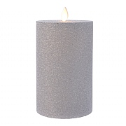 Lumineo Silver LED Glitter Flicker Candle 15cm