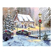 Winter Cottage LED Canvas 40x30cm