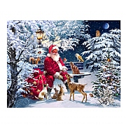 Santa on Bench LED Canvas 40x40cm