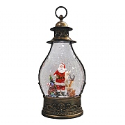Santa Scene LED Dark Water Filled Lantern