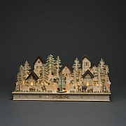 Konstsmide Wooden Silhouette House & Figures with 17 LEDs