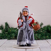 40cm Red & Grey Standing Mrs Christmas Decoration