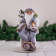 40cm Grey Sitting Santa Decoration with Skis