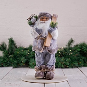 40cm Grey Standing Santa Decoration with Skis