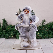 40cm Grey Sitting Santa Decoration with Tree