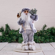 40cm Grey Standing Santa Decoration with Tree