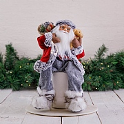 40cm Red & Grey Sitting Santa Decoration
