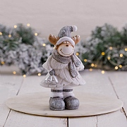 Small Grey & White LED Reindeer Figurine