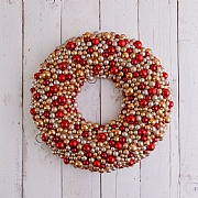 Gold, Red & Champagne Berry Wreath