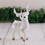 24cm White Standing Deer Christmas Decoration