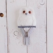 28cm White Sitting Owl Decoration