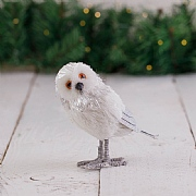 15cm White Standing Owl Decoration