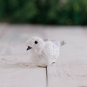 11cm White Glittered Bird on Clip Tree Decoration
