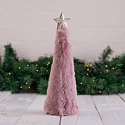 Pink Faux Fur Cone Tree Table Decoration