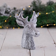 Large Silver Deer Head Candle