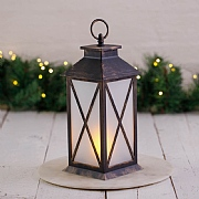 Bronze Fire-effect LED Candle Lantern