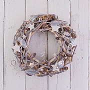 Silver LED Natural Wreath