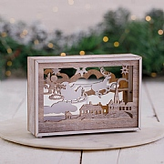 Mini Wooden LED Winter Sleigh Scene Decoration
