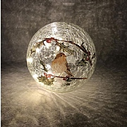 15cm LED Robin Crackle Ball Decorative Light