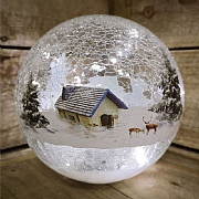 15cm LED Lodge Crackle Ball Decorative Light