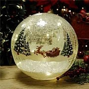 15cm LED Santa Sleigh Crackle Ball Decorative Light