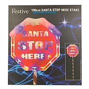 110cm Santa Stop Here Sign with Multicoloured Lights