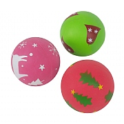 Rosewood Single Festive Rubber Ball (Assorted Designs)