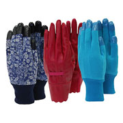 Ladies Triple Pack Gardening Gloves