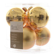 Light Gold 80mm Glass Baubles (Pack of 6)