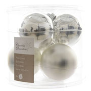 Decoris Silver 80mm Glass Baubles (Pack of 6)