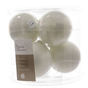 Decoris Winter White 80mm Glass Baubles (Pack of 6)