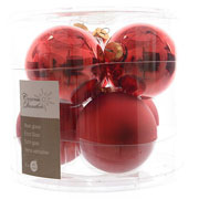 Decoris Christmas Red 80mm Glass Baubles (Pack of 6)