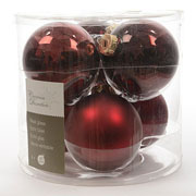 Decoris Oxblood 80mm Glass Baubles (Pack of 6)
