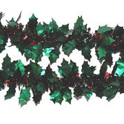 Green & Red Holly Tinsel 90mm x 2m