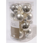 Silver 35mm Mini Glass Baubles Tub of 16