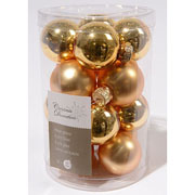 Light Gold 35mm Mini Glass Baubles Tub of 16