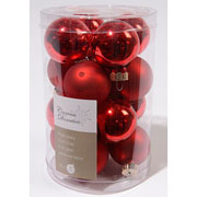Christmas Red 35mm Mini Glass Baubles Tub of 16