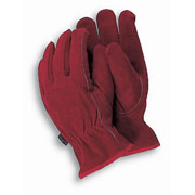 Premium Leather Gardening Gloves Red - Medium