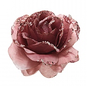 Decoris Velvet Pink Glitter Clip Rose